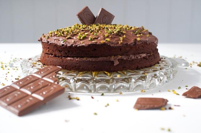 double-choc-pistachio cake